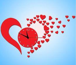 Wholesale Love Wall Watches - Acrylic mirror mute clock watch DIY acrylic wall clock creative wall stickers love love wall clock wall clock