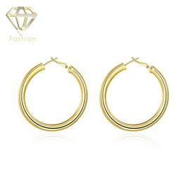 Wholesale hoop earrings diameter - 18K Gold Plated Low Price High Quality Cute Little Girl Like 50MM Diameter Round Hoop Earrings Fashion Circle Jewelry Wholesale
