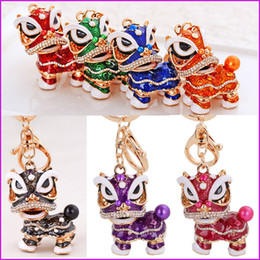 Wholesale Lovely Keychains - Lovely Chinese style lion dance keychain ancient mascot key chains fashion crystal animal keyring enamel key ring holder pendant