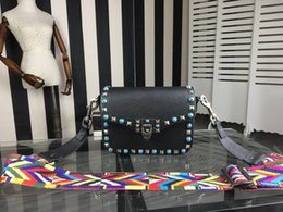 Wholesale Genuine Gems Beads - high quality~w335 genuine leather gem colorful strap shoulder bag black grey white 19*15*8cm luxury designer fashion trendy brand