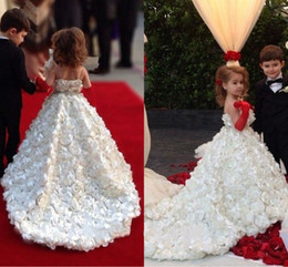 Wholesale 3d Girl Image Red Blue - Real Image Flower Girls Dresses For Wedding 3D Floral Applique Kids Gowns Tulle Spaghetti Free Shipping Girl Communion Party Gowns