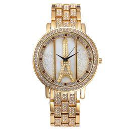 Wholesale Alloy Eiffel Tower - Paris Eiffel Tower Women Quartz Vintage Watch Luxury Fashion Crystal Stainlness Steel Analog Ipg Wrist Watch Ladies Montre Femme Gift
