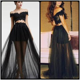 Wholesale Piece Online - 2017 Black Prom Dresses Tulle And Lace Off Shoulder Two Pieces Prom Gowns Appliques Beaded Bodice Sexy Party Dresses Occasion Wear Online