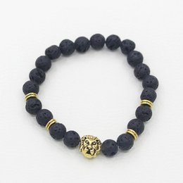 Wholesale China Lion - Lava Stone Animal Bracelet Men Jewelry New Fashion Gold Plated Lions Head or Leopard Head Beads Bracelets Free Shipping