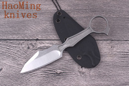 Acampamento ao ar livre portátil KYDEX embainhado faca pescoço fixo D2 aço sobrevivência caça chaveiro K bainha facas tático EDC ferramentas de Auto-defesa de