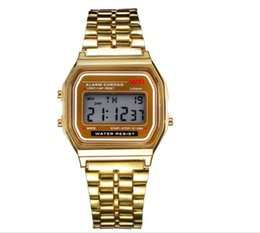 Wholesale Watch Led Light Wrist - NEW 2017 Fashion Retro Vintage Gold Watches Men Electronic Digital Watch LED Light Dress Wristwatch relogio masculino FYMHM102