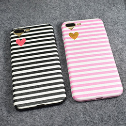 Wholesale Couples Iphone Cases - For Iphone 7 Silk Patterns Leather Case TPU Soft Cover For IPhone 8 6s plus Couple Love Hearts Stripe Custom Case With DHL