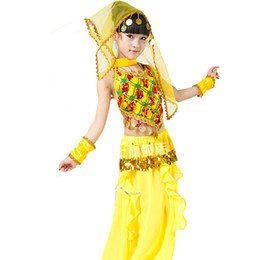 Wholesale Belly Dance Xxl - Girl Belly Dancing Clothes Red Yellow Green Bollywood Dance Costumes S-XXL Indian Dance Costumes For Children Free Shipping