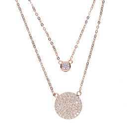 Wholesale Double Chain Necklace Gold - 925 sterling silver factory top quality fine fashion big micro pave cz disco charm double layer elegant silver cz necklace