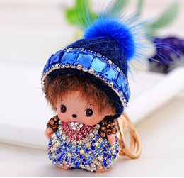 Wholesale Mink Car - hot sale Cute Monchichi Key chain Rhinestone Wool hat Mink fur Dolls kiki Keychain girl Women Car Bag Charm Brands keyring 2016
