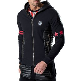 Wholesale Hoodie Zip Mens - Wholesale-2016 Fashion famous brand mens cotton printed skull hoodies zipped black and grey side quilted detailing sportswear Size M-XXL