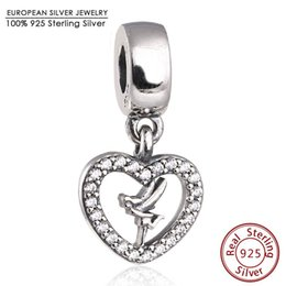 Wholesale Tinkerbell Pendants - Tinkerbell Dangle Charms With CZ Fits Brand Bracelets Original 925 Sterling Silver Heart Charm Pendants 2016 Spring Jewelry