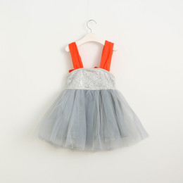 Wholesale Girls Vest Dresses Autumn - Girls Dress Kids Clothing 2016 Christmas Bling Shiny Dress Fashion Bow Sequins Vest Princess Dress MK-762