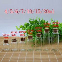 Wholesale Wholesale Decorative Containers - Wholesale- small glass bottles with wood cork, Mini clear empty glass penicillin bottle containers decorative craft corked stopper vials