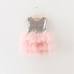 Wholesale Silk Flowers For Clothes - Girls Wedding Dresses Sequined New Lovely Princess Children Dress Sweet Baby Short Sleeveless Lace Rose Flower Kids Clothes For 2016 summer
