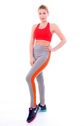 Wholesale Red Stripe Leggings - Wholesale-NEW Gym Women Yoga Clothing Sports Pants stripe Tights Workout Sport Fitness Bodybuilding And Clothes Running Leggings
