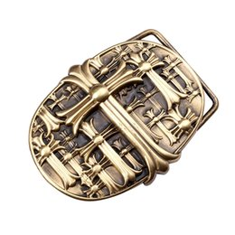 Wholesale Design Belts Mens - Mens Unique Top Quality Famous Brand Cross Pattern Design Pure Brass Metal Belt Buckle Fit for 3.8cm Width Belts for Men Belts BUCKLE0088