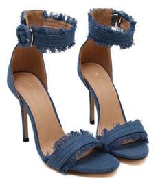 Wholesale Cool Pink High Heel Shoes - Size 35~40 Jeans Material High Heels Sandals Women Pumps 2016 Cool Summer Blue Women Shoes