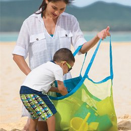 Wholesale L Type Tools - Children Travel Foldable Multifunctional Sand Beach Bags Extra Large Mesh Nylon Oxford Toy Storage Bag Baby Toy Collection Bag