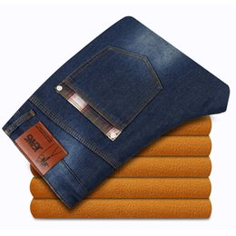 Wholesale Thick Fleece Pants Men 3xl - Wholesale-Men Autumn Winter Jeans Casual Pants Male Thick Warm Fleece jeans High Quality Plus size Hot Selling Fashion Tops New 2 color