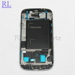Wholesale Galaxy Home Buttons - 10pcs lot For Samsung Galaxy S3 neo I9300i i9308i LCD Frame Front Housing Middle Frame Bezel Plate + Home Button, (Black&Blue&Silver)