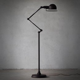 Wholesale Floor Lamps Retro - European-style minimalist living room bedroom creative retro American black rotatable mechanical arm floor lamp