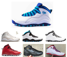 Wholesale Red Flags Men - 2016 air retro 10 NYC charlotte Hornets blue City Pack CHI Chicago Flag Steel Grey powder Blue Seattle Ice Blue mans basketball shoes