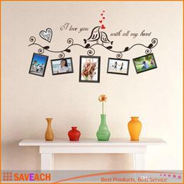 Marco de fotos de aves online-Love Birds Photo Frame Art pegatinas de pared calcomanía romántica boda salón dormitorio decoración decoración adesivo de parede