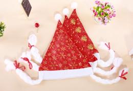 Wholesale Santa Dress Adult - 12Pcs White Rim Santa Christmas Hat Christmas cap caps Bonnet With Braids For Adult Women Christmas Dress