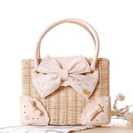 Wholesale Lace Woman Handbag - Factory direct summer box type butterfly knot portable handbags woven leisure Beach Bag checking Lace Bow handbag fashion woman
