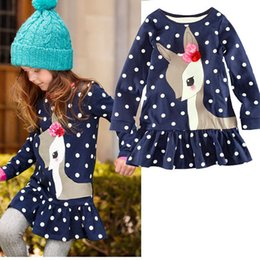 Wholesale One Piece Polka Dot - 2016 New autumn winter Girls Long Sleeve flower Deer Polka Dots One-piece Dress Christmas festival gifts cotton t shirt free shipping