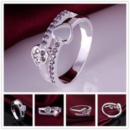 Wholesale Double Finger Rings Free Shipping - Brand new 10 pieces 925 silver Double Heart Diamond Rings Free shipping GSSR395 Factory direct sale fashion sterling silver finger ring