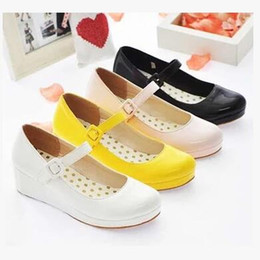 Wholesale Leather Japanese Girls - Japanese school uniforms shoes black retro sailor clothes shoes word cos Meng students with low-heeled girl shoes