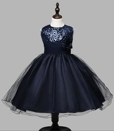 Wholesale Mesh Bows Christmas - The New Europe Childrens Party Evening Dresses Flower Girls Navy Blue Blue Pink Ivory Sequin Mesh Princess Dresses