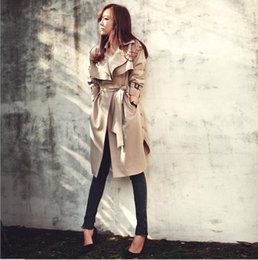 Wholesale spring trench coats for women - Hot sale 2016 Spring Autumn Brand Casual Trench coat for women Plus Size Long Double Slim Windbreaker Outerwear Coats