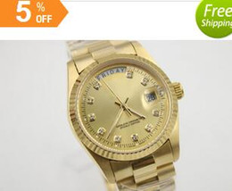 Wholesale Diamond Digital Watches - 2016 new Arrivals! High quality luxury classic log robotic permanent MENS18K Gold Day Date President of the Watch W   Diamonds