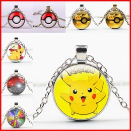 Wholesale Slid Toy - 44 colors ball necklaces keychain Pocket Monsters Pikachu Eevee Charizard time gem glass cabochon necklace women men kids toy