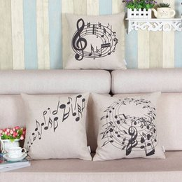 Wholesale Music Pillow Cases - Wholesale- New Linen Pillow Cover Music Notes Melody Printed Pattern Pillow Case Home Bed Throw Pillowcase Square 45x45cm
