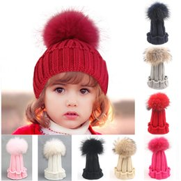 Wholesale baby winter fur hat - Fashion Children Winter Raccoon Fur Hat Girls Boys Fur pompoms Ball Baby Beanies Cap Kids Crochet Knitted Hats