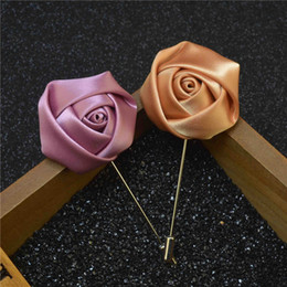 Wholesale Silk China Rose - luxury flower brooch lapel pins handmade boutonniere stick with silk rose for gentleman suit sweater wear in evening party price cheap