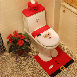 Wholesale Bathroom Rugs Toilet Covers - Free Shipping 2017 Christmas 3 Piece Set Hot Sale Best Happy Santa Toilet Seat Cover & Rug Bathroom Set Christmas Decorations MYF275