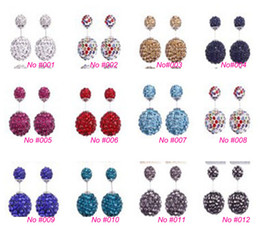 Wholesale Silver Earings Free Shipping - High quality 925 Sterling Silver Double sided Shambala Ball Stud Earrings Fashion Jewelry Diamond Crystal Disco Beads Earings Free Shipping