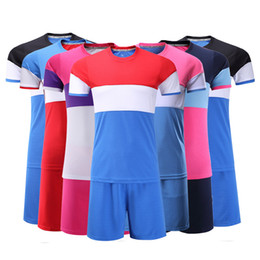 Wholesale Xl Girls - Kids Football kit Soccer shirts shorts Boys Girls jerseys