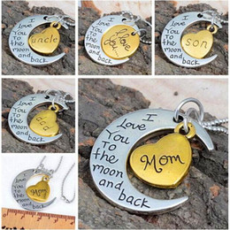 Wholesale I Love Mom Dad - Luxury Retro Moon Necklace I Love You To The Moon And Back For Mom Dad Sister Brother Family Pendant Link Chain Mother's Day gift