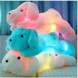 brinquedo colorido do cão do luxuoso Desconto Hot Colorido LED Flash Light bonito cão Boneca 50 cm Plush Stuffed Toys presente para as crianças presente de natal de pelúcia brinquedo de pelúcia