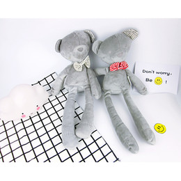Wholesale Sleeping Bear Cartoon - Bowtie Bear Toys 42cm Height Grey Color Baby Cartoon Plush Doll Kids Sleeping Comfort Toys Children's Gift 10pcs