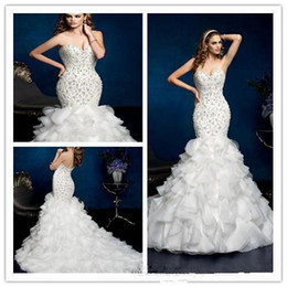 Wholesale Long Strapless Tight Dress - Junoesque Bridal Gowns Tight Strapless Floor Length Mermaid Dresses backless Cowl Tired Skirts Puff With Sequins Beads Wedding Dresses WB