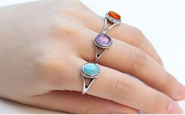 Wholesale Green Agate Ring Silver - 2016 Fashion antique silver ring, natural turquoise ring, natural agate red purple stone ring for women, A single sale