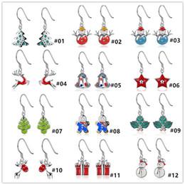 Wholesale Bell Flower Earring - XMAS Gift 12 styles 925 silver jingle Bell Santa Claus christmas trees snowman reindeer Earrings Jewelry for women