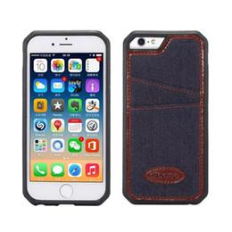Wholesale Denim Phone Cases - For iphone 6 6s 6plus Jean Style Phone Case for 6s 6 plus Denim Pattern Back Cover Hard PC Case Wallet Card Slot